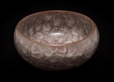 Czarka z gliny yixing z glazurą ozdobioną krakelurą beżowa