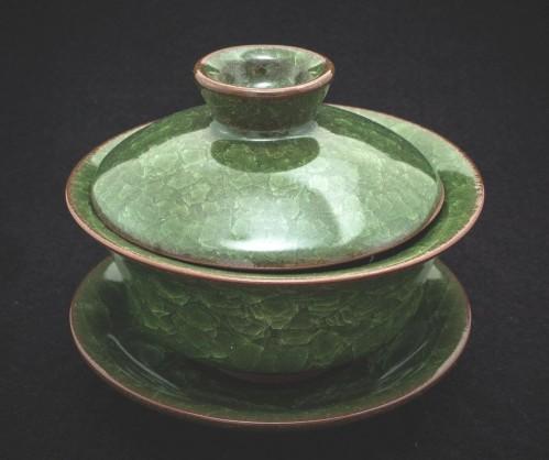 Gaiwan z gliny z glazurą w kolorze zielonym